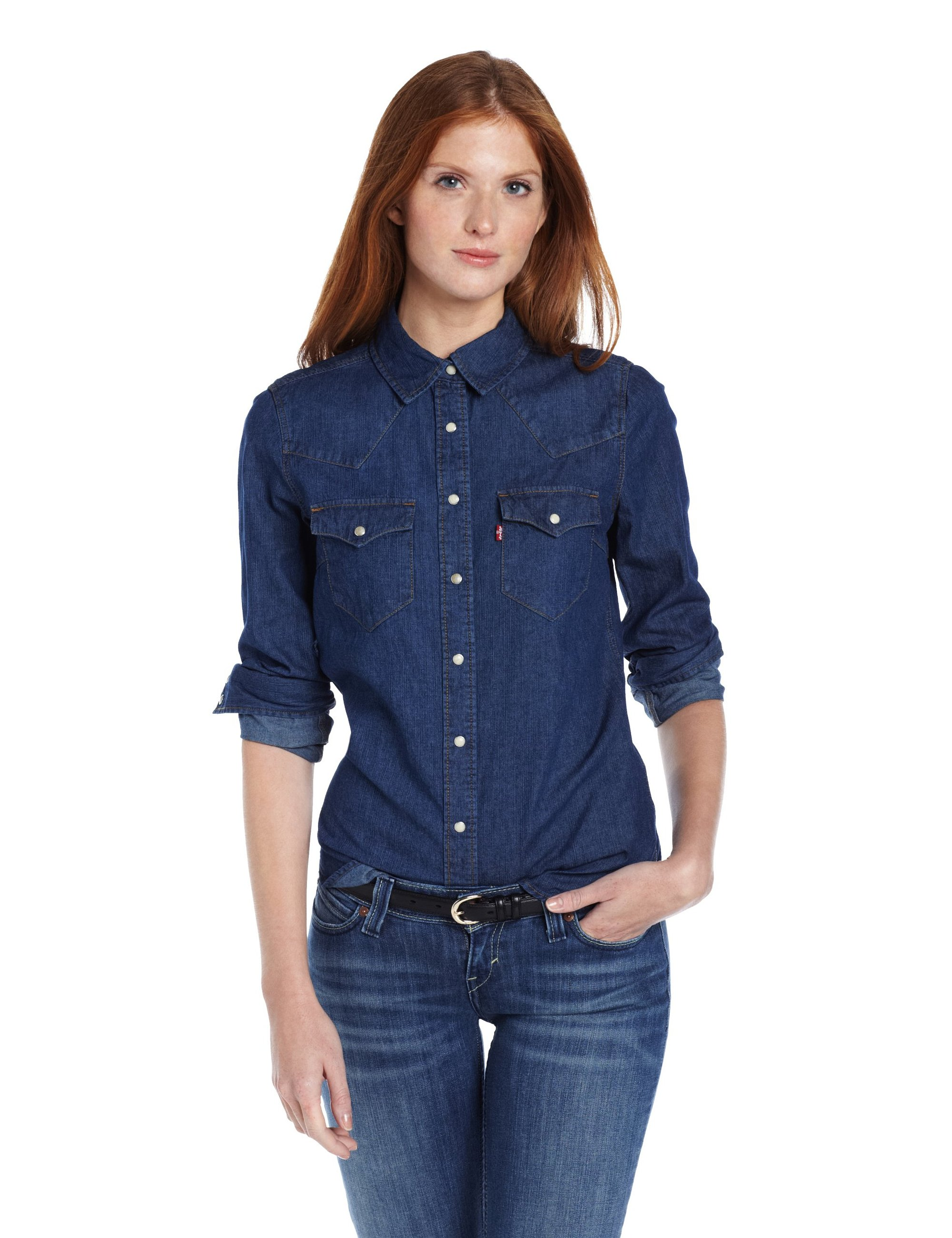 Levis women 39 s tailored western denim shirt for Blue denim shirt for womens